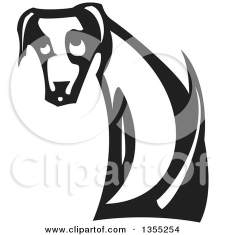 Clipart of a Black and White Woodcut Sad Dog Sitting and Looking Back - Royalty Free Vector Illustration by xunantunich