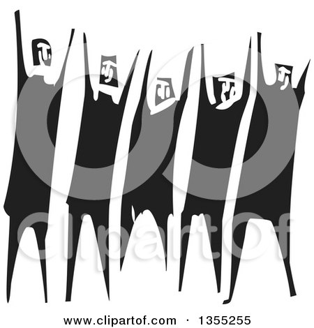 Clipart of a Black and White Woodcut Group of People Throwing up Their Arms or Cheering - Royalty Free Vector Illustration by xunantunich