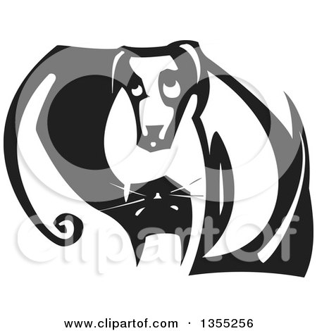 Clipart of a Black and White Woodcut Yin Yang of a Cat and Dog - Royalty Free Vector Illustration by xunantunich