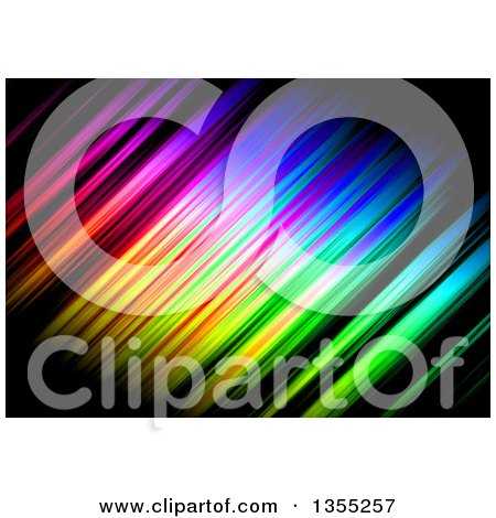 Clipart of a Backgorund of Colorful Streaks on Black - Royalty Free Illustration by Arena Creative