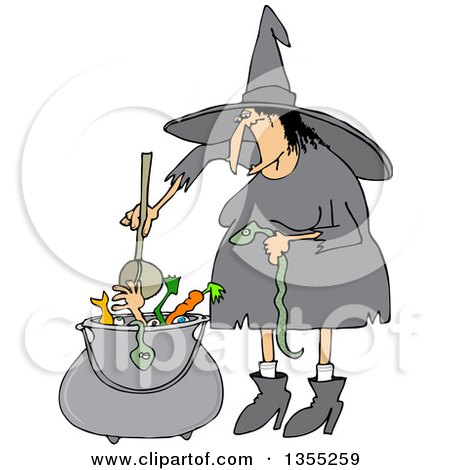 Clipart Of A Cartoon Fat Warty Halloween Witch Adding A Snake Into Her Brew Royalty Free Vector Illustration