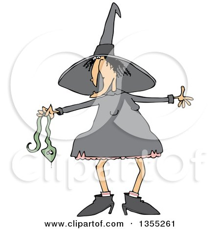 Clipart Of A Cartoon Chubby Warty Halloween Witch Holding A Snake Royalty Free Vector Illustration