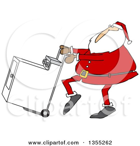Clipart Of A Cartoon Christmas Santa Claus Pushing A Dryer On A Hand Truck Dolly Royalty Free Vector Illustration