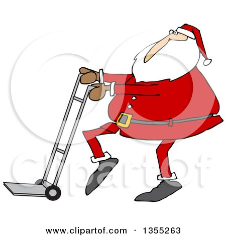 Clipart Of A Cartoon Christmas Santa Claus Pushing A Hand Truck Dolly Royalty Free Vector Illustration