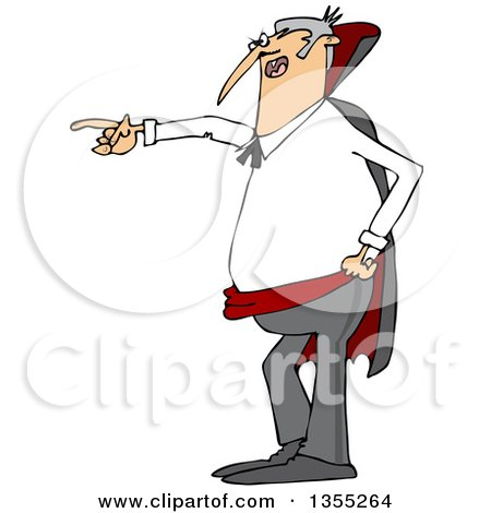 Clipart of a Cartoon Angry Vampire Pointing to the Left - Royalty Free Vector Illustration by djart