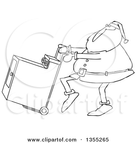 Outline clipart of a cartoon black and white christmas santa claus outline clipart of a cartoon black and white christmas santa claus pushing a dryer on a hand truck dolly royalty free lineart vector illustration by djart voltagebd Image collections