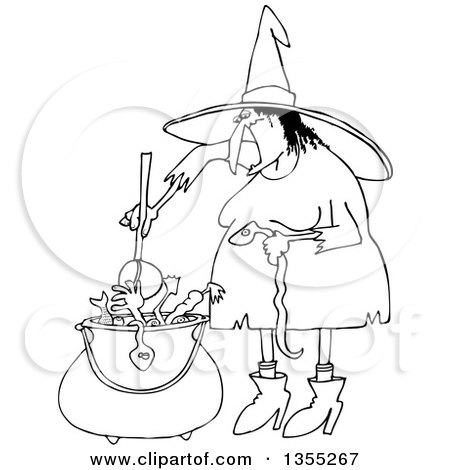 Outline Clipart of a Cartoon Black and White Halloween Witch Adding a Snake into Her Brew - Royalty Free Lineart Vector Illustration by djart