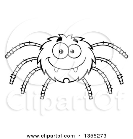 Clipart Of A Cartoon Happy Purple Spider And Web Royalty