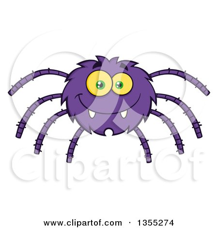 Clipart of a Cartoon Happy Purple Spider - Royalty Free Vector Illustration by Hit Toon