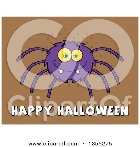 Clipart of a Cartoon Purple Spider over Happy Halloween Text on Brown Halftone - Royalty Free Vector Illustration by Hit Toon