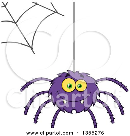 Clipart of a Cartoon Happy Purple Spider and Web - Royalty Free Vector Illustration by Hit Toon
