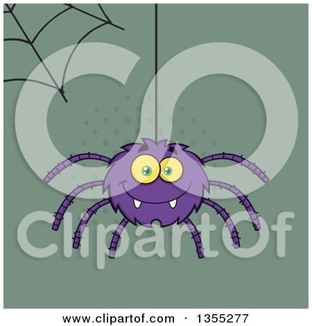 Clipart of a Cartoon Happy Purple Spider and Web over Green and Halftone - Royalty Free Vector Illustration by Hit Toon