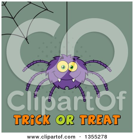 Clipart of a Cartoon Purple Spider and Web over Trick or Treat Text on Green Halftone - Royalty Free Vector Illustration by Hit Toon