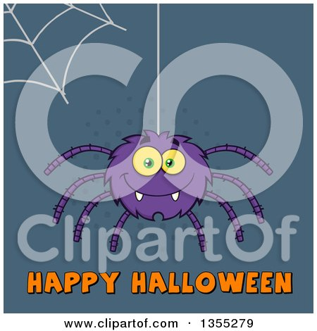 Clipart of a Cartoon Purple Spider over Happy Halloween Text on Blue Halftone - Royalty Free Vector Illustration by Hit Toon
