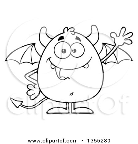 Outline Clipart of a Cartoon Black and White Winged Devil Waving - Royalty Free Lineart Vector Illustration by Hit Toon