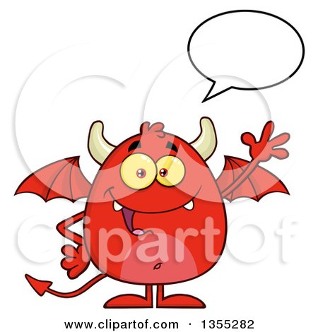 Clipart of a Cartoon Winged Devil Talking and Waving - Royalty Free Vector Illustration by Hit Toon