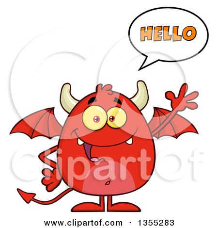 Clipart of a Cartoon Winged Devil Saying Hello and Waving - Royalty Free Vector Illustration by Hit Toon