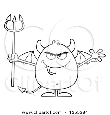 Outline Clipart of a Cartoon Black and White Winged Devil Welcoming and Holding a Trident - Royalty Free Lineart Vector Illustration by Hit Toon