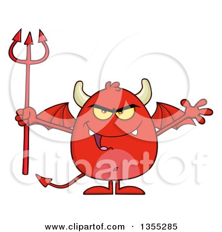 Clipart of a Cartoon Winged Devil Welcoming and Holding a Trident - Royalty Free Vector Illustration by Hit Toon
