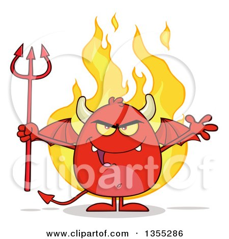 Clipart of a Cartoon Winged Devil Welcoming and Holding a Trident over Flames - Royalty Free Vector Illustration by Hit Toon