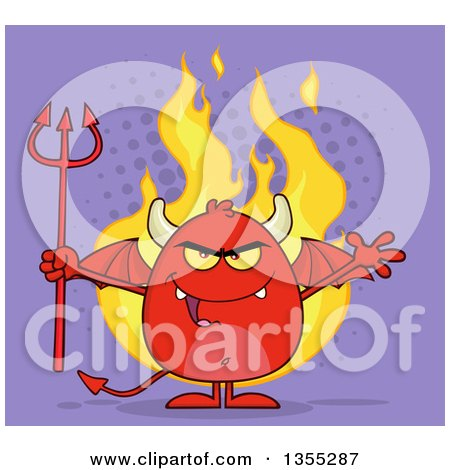 Clipart of a Cartoon Winged Devil Welcoming and Holding a Trident over Flames and Purple Halftone - Royalty Free Vector Illustration by Hit Toon