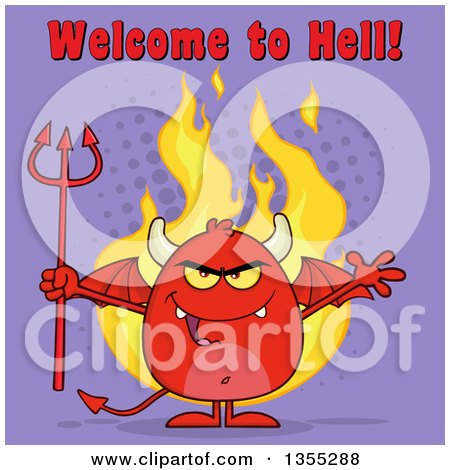 Clipart of a Cartoon Winged Devil Welcoming and Holding a Trident over Flames and Purple Halftone with Welcome to Hell Text - Royalty Free Vector Illustration by Hit Toon