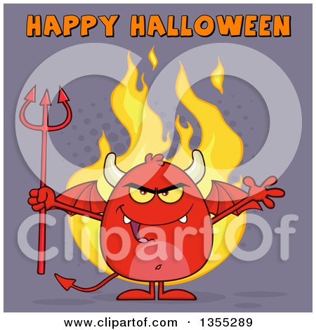 Clipart of a Cartoon Winged Devil Welcoming and Holding a Trident over Flames and Purple Halftone with Happy Halloween Text - Royalty Free Vector Illustration by Hit Toon