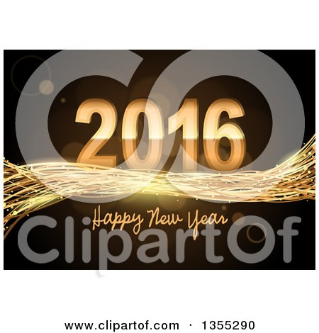 Clipart of a 3d Shiny Gold Happy New Year 2016 Background with Sparkly Waves and Flares - Royalty Free Vector Illustration by dero