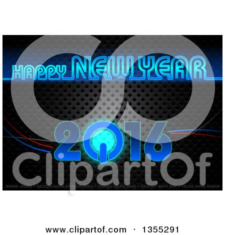 Clipart of a Happy New Year 2016 Greeting in Blue Neon, with a Power Button over Perforated Metal - Royalty Free Vector Illustration by dero