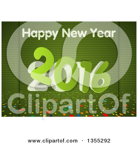 Clipart of a Happy New Year 2016 Greeting over Green Stripes and Colorful Dots - Royalty Free Vector Illustration by dero