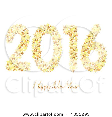 Clipart of a 3d Shiny Gold Happy New Year 2016 Background with Stars on White - Royalty Free Vector Illustration by dero