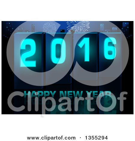 Clipart of a Happy New Year 2016 Greeting over a City with Fireworks and a Reflection - Royalty Free Vector Illustration by dero
