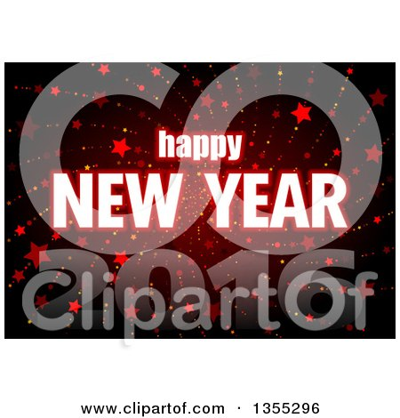 Clipart of a Happy New Year 2016 Greeting over a Red Spiraling Star Burst - Royalty Free Vector Illustration by dero