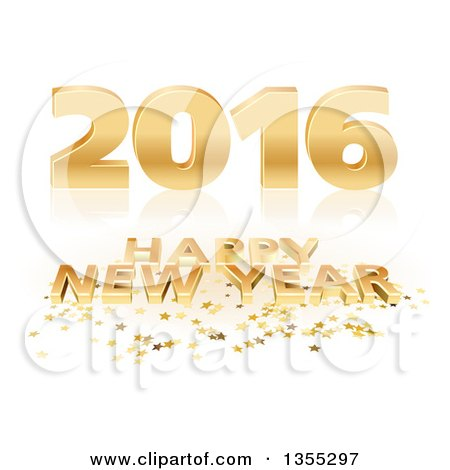 Clipart of a 3d Shiny Gold Happy New Year 2016 Background with Stars on Reflective White - Royalty Free Vector Illustration by dero