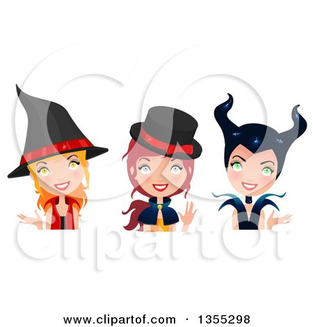 Clipart Of Three Happy Witches - Royalty Free Vector Illustration by Melisende Vector