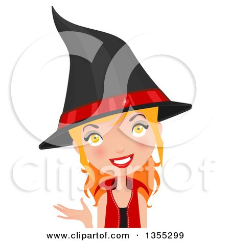 Clipart Of A Friendly Red Haired Witch Presenting - Royalty Free Vector Illustration by Melisende Vector
