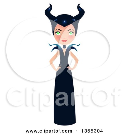 Clipart Of A Full Length Maleficent Witch Standing With Hands on Her Hips - Royalty Free Vector Illustration by Melisende Vector