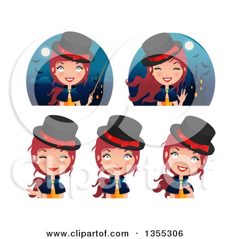 Clipart Of Friendly Red Haired Witches and Haunted Castles - Royalty Free Vector Illustration by Melisende Vector