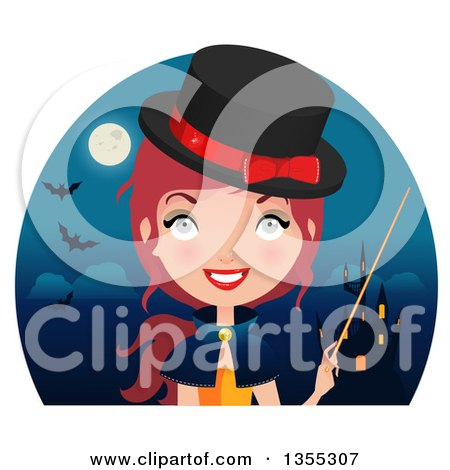 Clipart Of A Friendly Red Haired Witch Holding a Wand Over a Haunted Castle, Full Moon and Bats - Royalty Free Vector Illustration by Melisende Vector