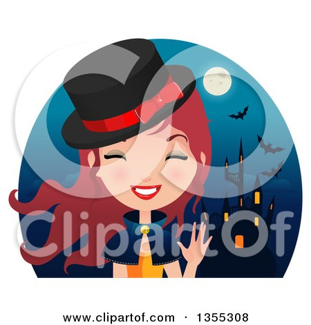 Clipart Of A Friendly Red Haired Witch Waving Over a Haunted Castle, Full Moon and Bats - Royalty Free Vector Illustration by Melisende Vector