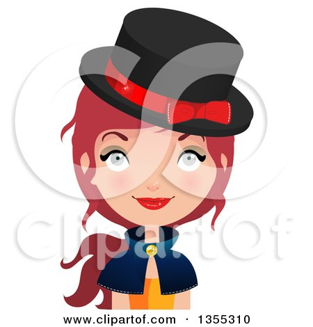 Clipart Of A Friendly Red Haired Witch - Royalty Free Vector Illustration by Melisende Vector