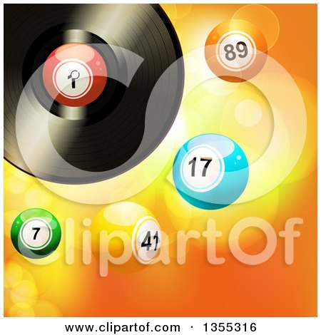 Clipart of a 3d Vinyl Record Music Album with 3d Bingo or Lottery Balls over Flares - Royalty Free Vector Illustration by elaineitalia
