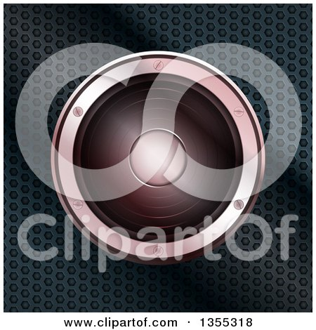 Clipart of a 3d Music Speaker over Perforated Metal - Royalty Free Vector Illustration by elaineitalia
