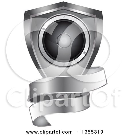 music speakers clipart. 3d music speaker in a silver shield with blank ribbon banner by elaineitalia speakers clipart o