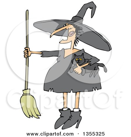 Clipart of a Cartoon Chubby Warty Halloween Witch Holding a Broom and Cat - Royalty Free Vector Illustration by djart