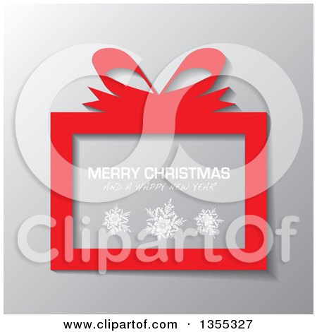 Clipart of a Red Gift Box with Snowflakes and Merry Christmas and a Happy New Year Greeting over Gray - Royalty Free Vector Illustration by michaeltravers