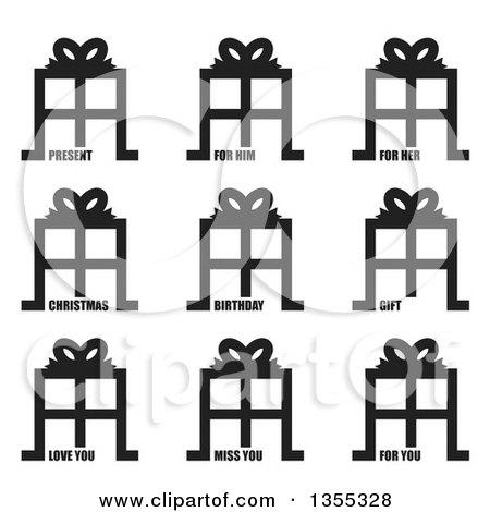Clipart of Black and White Gift Icons with Present, for Him, for Her, Christmas, Birthday, Gift, Love You, Miss You and for You Text - Royalty Free Vector Illustration by michaeltravers