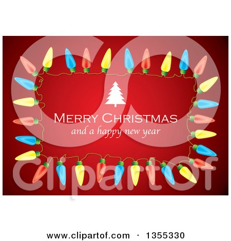 Clipart of a Merry Christmas and a Happy New Year Greeting with a Tree in a Colorful Light Frame over Red - Royalty Free Vector Illustration by michaeltravers