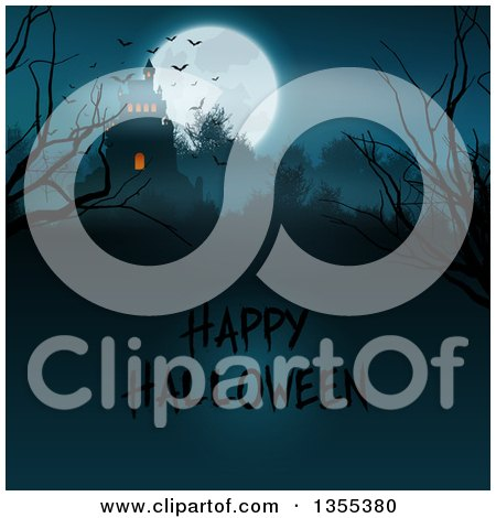 Clipart of a Silhouetted Spooky Haunted Halloween Castle on a Hill Against a Full Moon with Vampire Bats, Bare Branches and Text - Royalty Free Vector Illustration by KJ Pargeter