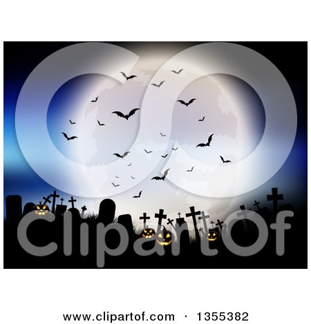 Clipart of a Full Moon with Vampire Bats over a Silhouetted Cemetery with Lit Jackolantern Pumpkins Against a Blue Sky - Royalty Free Vector Illustration by KJ Pargeter